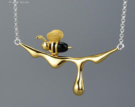 925 Sterling Silver Handmade Gold Bee and Dripping Honey Pendant and Matching Earrings