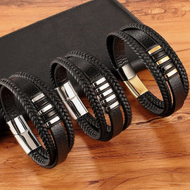 Black Gold Genuine Leather Bracelet