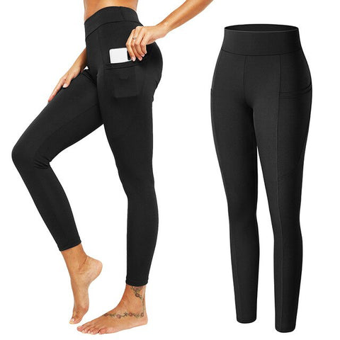 Mid Waist Fitness Leggings With Pockets