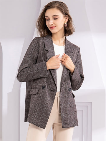 Women's Plaid Double Breasted Blazer
