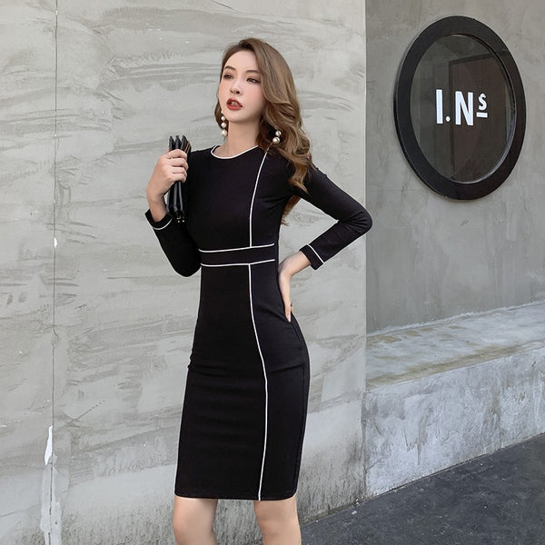 Bodycon Wrap Dress Long Sleeve O-Neck