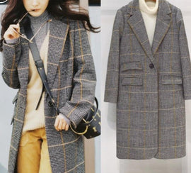 Winter Multicoloured Notched Neck Plaid Woolen Coat
