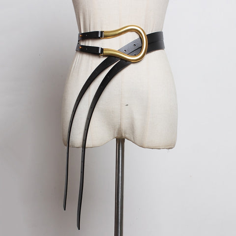 Black Long Wide Leg Belt