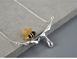 925 Sterling Silver Handmade Gold Bee and Dripping Honey Pendant