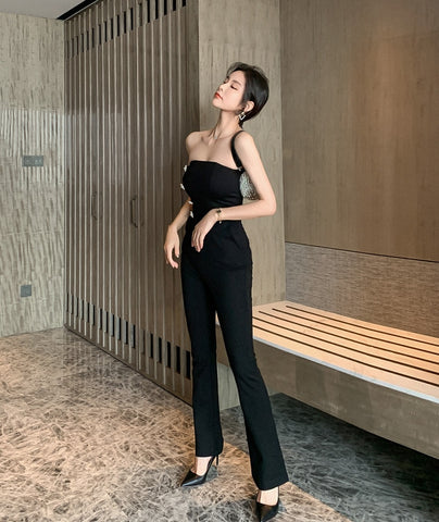 Strapless Black Jumpsuit With Jacket
