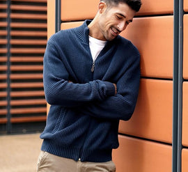 Semi-High Collar Men's Sweater