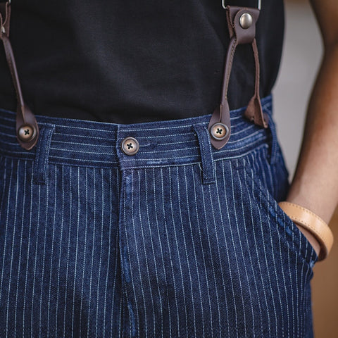 Men's Retro Work Pants With Detachable Suspenders Sold Separately