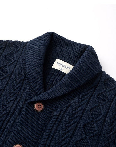 Cotton Shawl Collar Men's Knitted Sweater