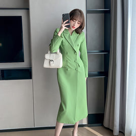 Double Breasted Winter Green Trench Coat