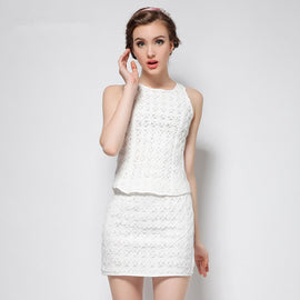2 Piece Summer White O-Neck Sleeveless Top and Mini Skirt