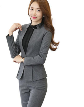 Two Piece Gray Pant Suit