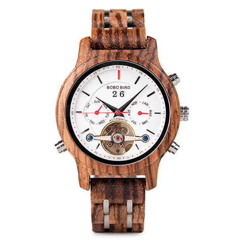 Automatic Mechanical Wooden Luxury Watch For Men With Calendar Display
