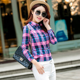 Casual Womens Cotton Flannel Plaid Shirts