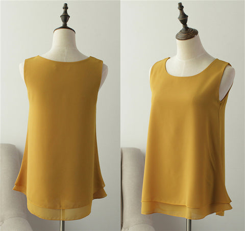 Chiffon O-Neck Casual sleeveless Blouse