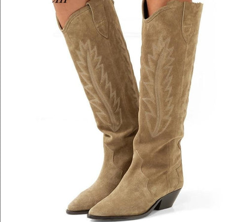 Embroidered Suede Knee high Boots