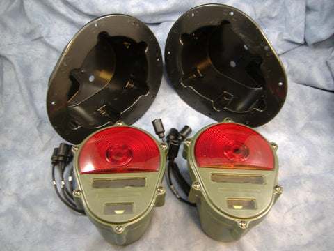M998 HUMMER TAIL LIGHT HOUSING SET w/TAIL LIGHTS HMMWV - ALSO USED FOR FLUSH MOUNTING MILITARY TAIL LIGHTS IN JEEPS - 12338711