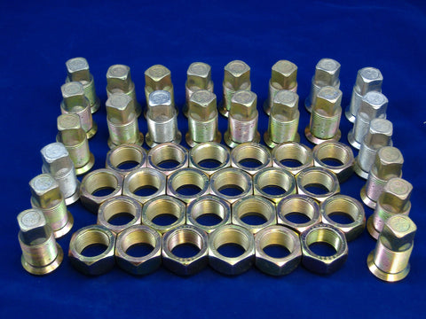 LEFT HAND INNER AND OUTER LUG NUTS FOR DUAL REAR WHEELS, SET OF TWENTY FOUR, M35-M54-M809-M939