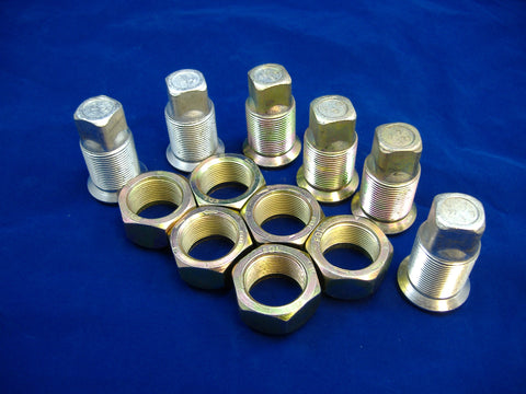 LEFT HAND INNER AND OUTER LUG NUTS FOR DUAL REAR WHEELS, SET OF SIX, M35-M54-M809-M939
