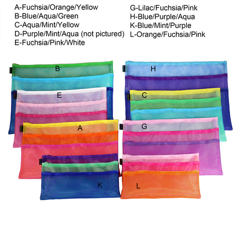 Triple Zip Cases with Handles - Multi Color