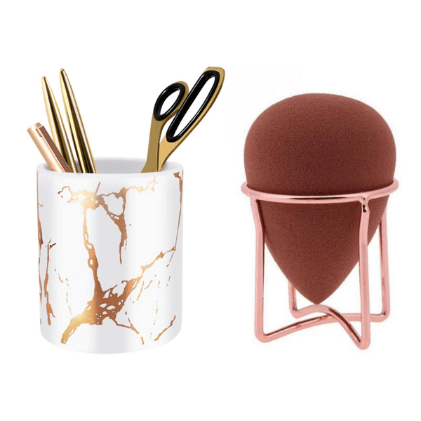 Marble Holder & Makeup Sponge Rack