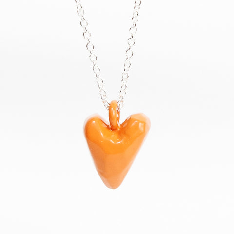 Coloured Heavy Heart Pendant - Orange