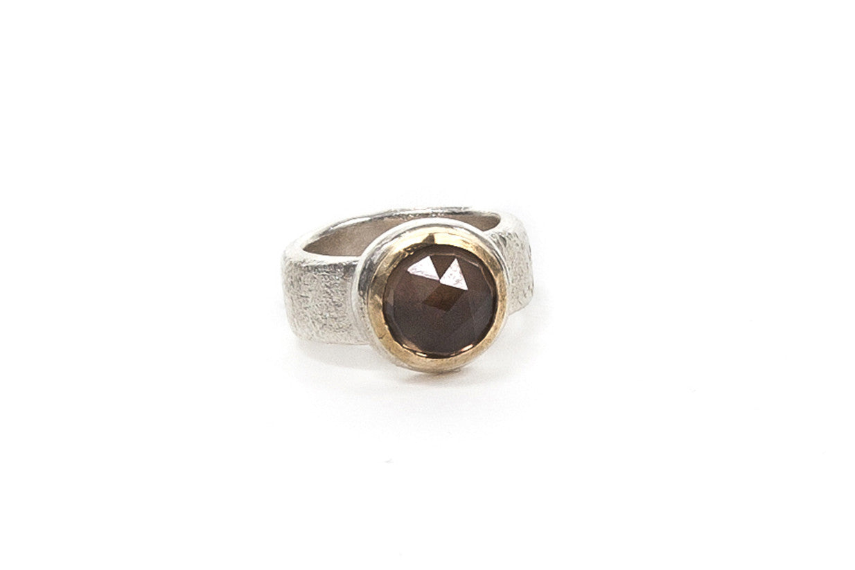 Gold Top Cocktail Ring - Smokey Quartz