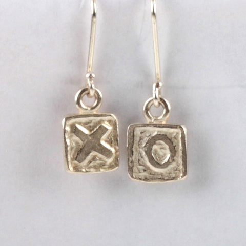 XO Tile Earrings - Silver