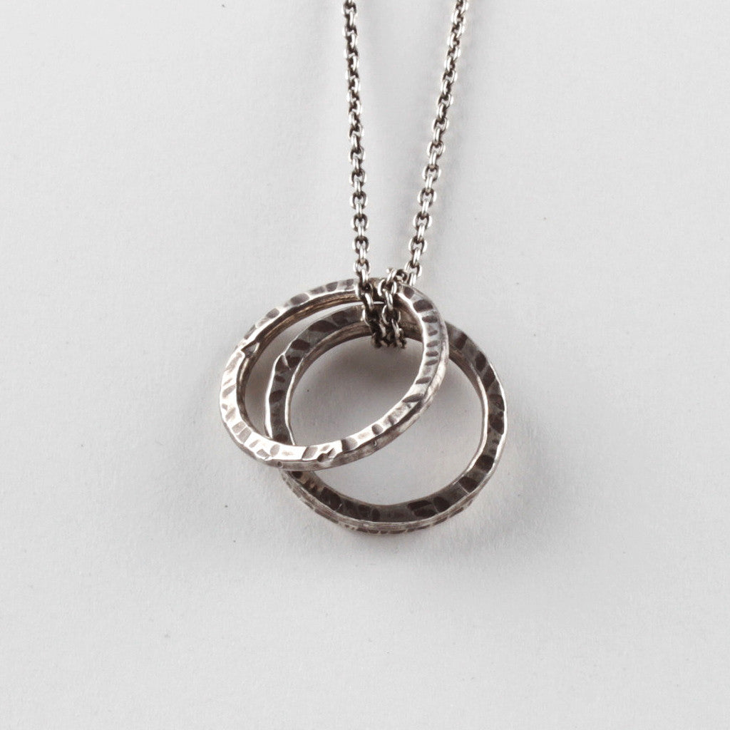 Group Ring Pendant - Black - Oxidised Silver Chain
