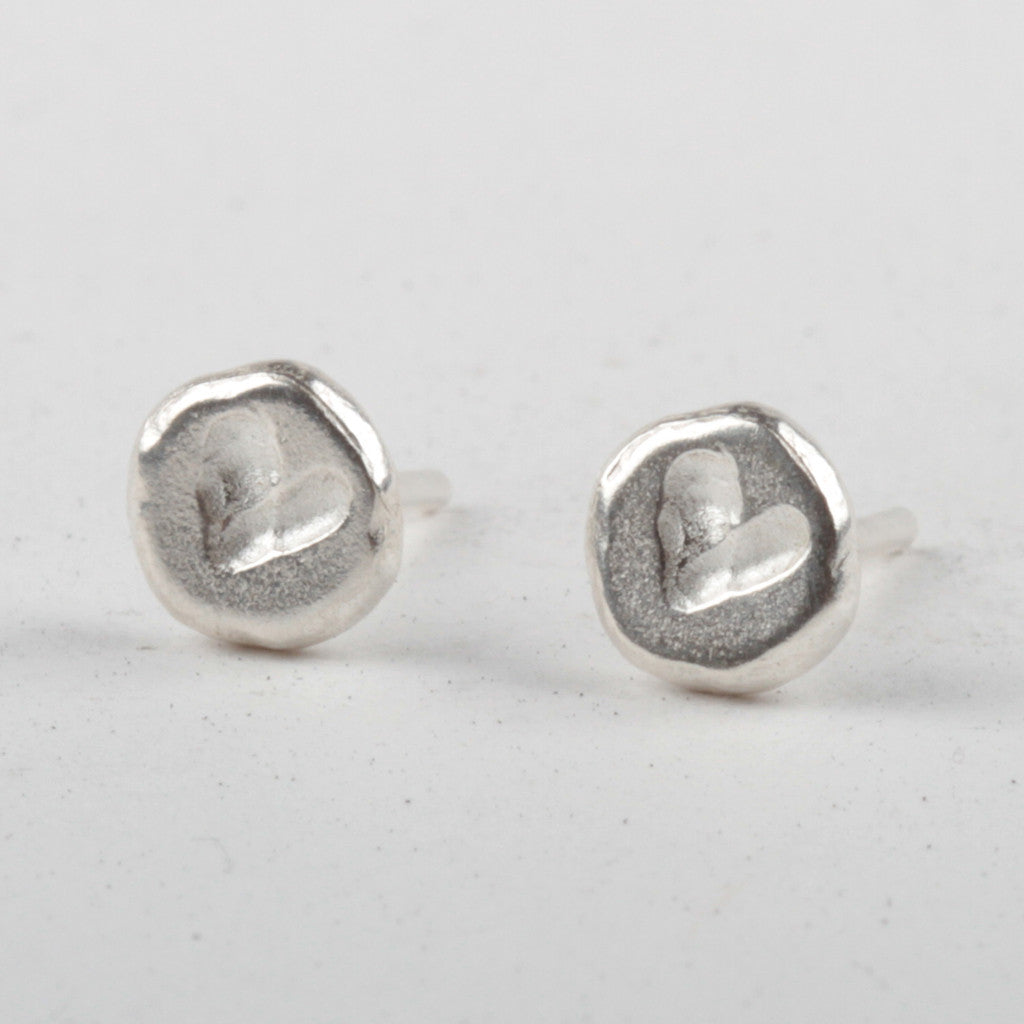 Heart Stud Earrings - Silver