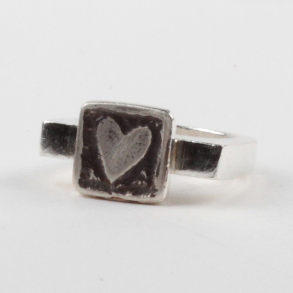 Heart Tile Ring - Black