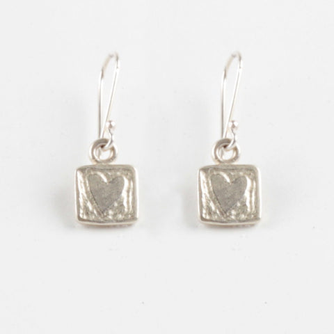 Heart Tile Earrings - Silver