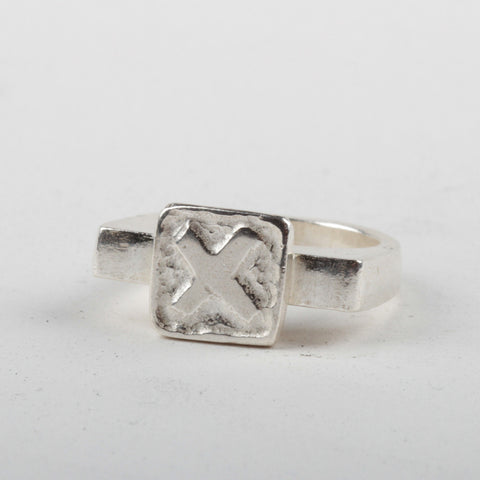 X Tile Ring - Silver