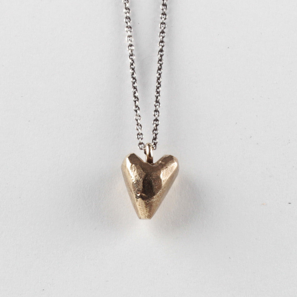 Heavy Heart Pendant - Brass