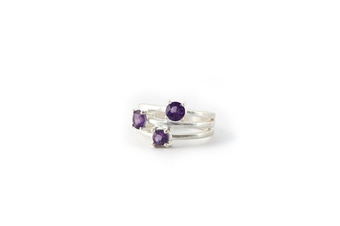 Triple Stone Ring Amethyst (Purple)