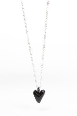 Coloured Heavy Heart Pendant - Black