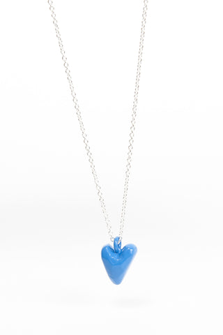 Coloured Heavy Heart Pendant - Blue