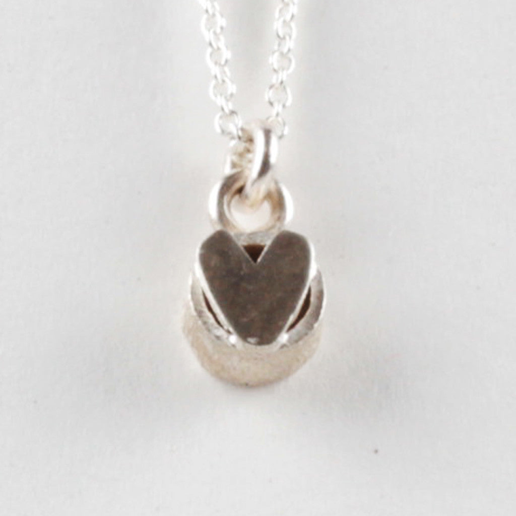 Heart On Top Pendant - Silver