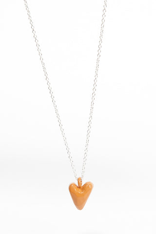 Coloured Heavy Heart Pendant - White