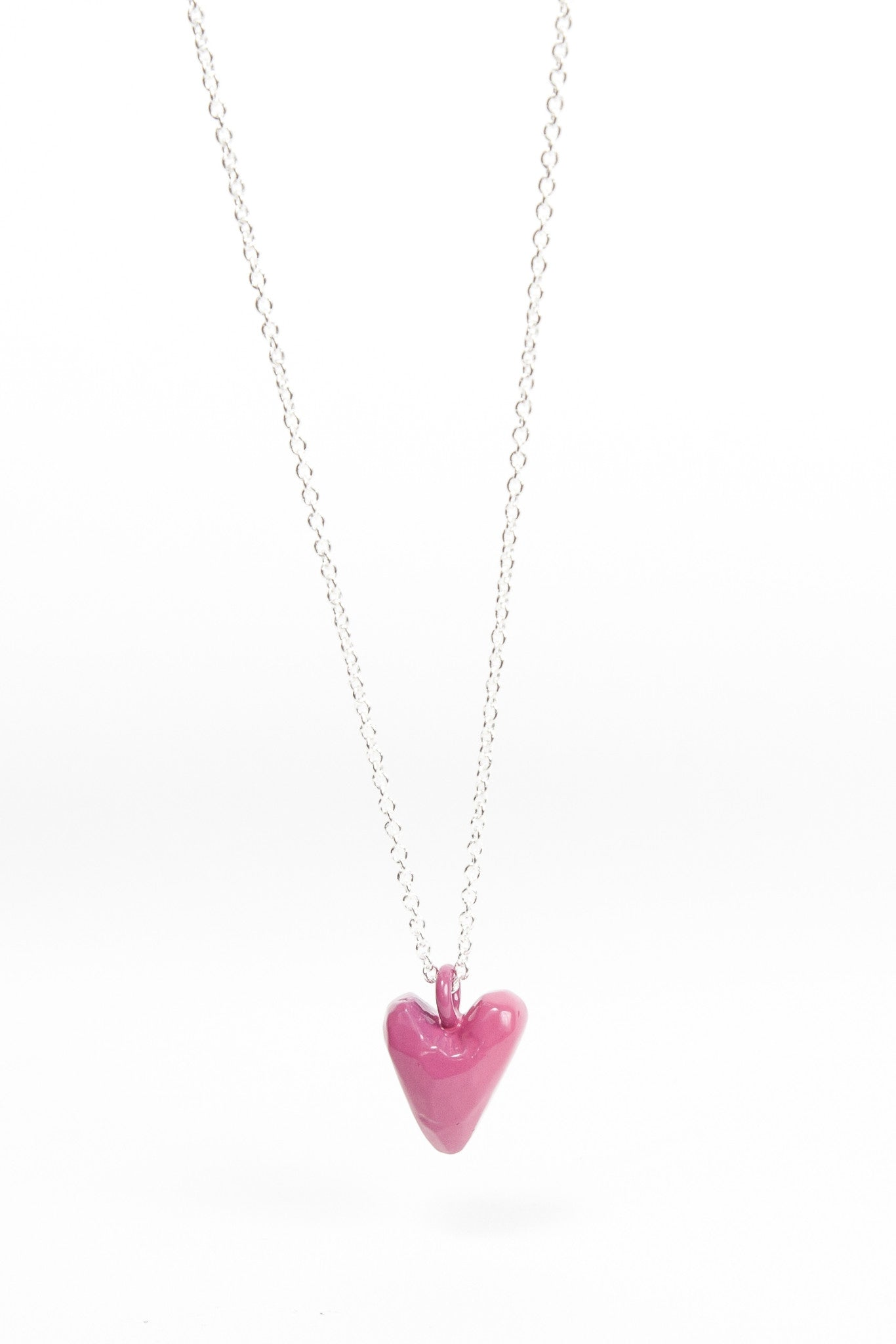 Coloured Heavy Heart Pendant - Pink