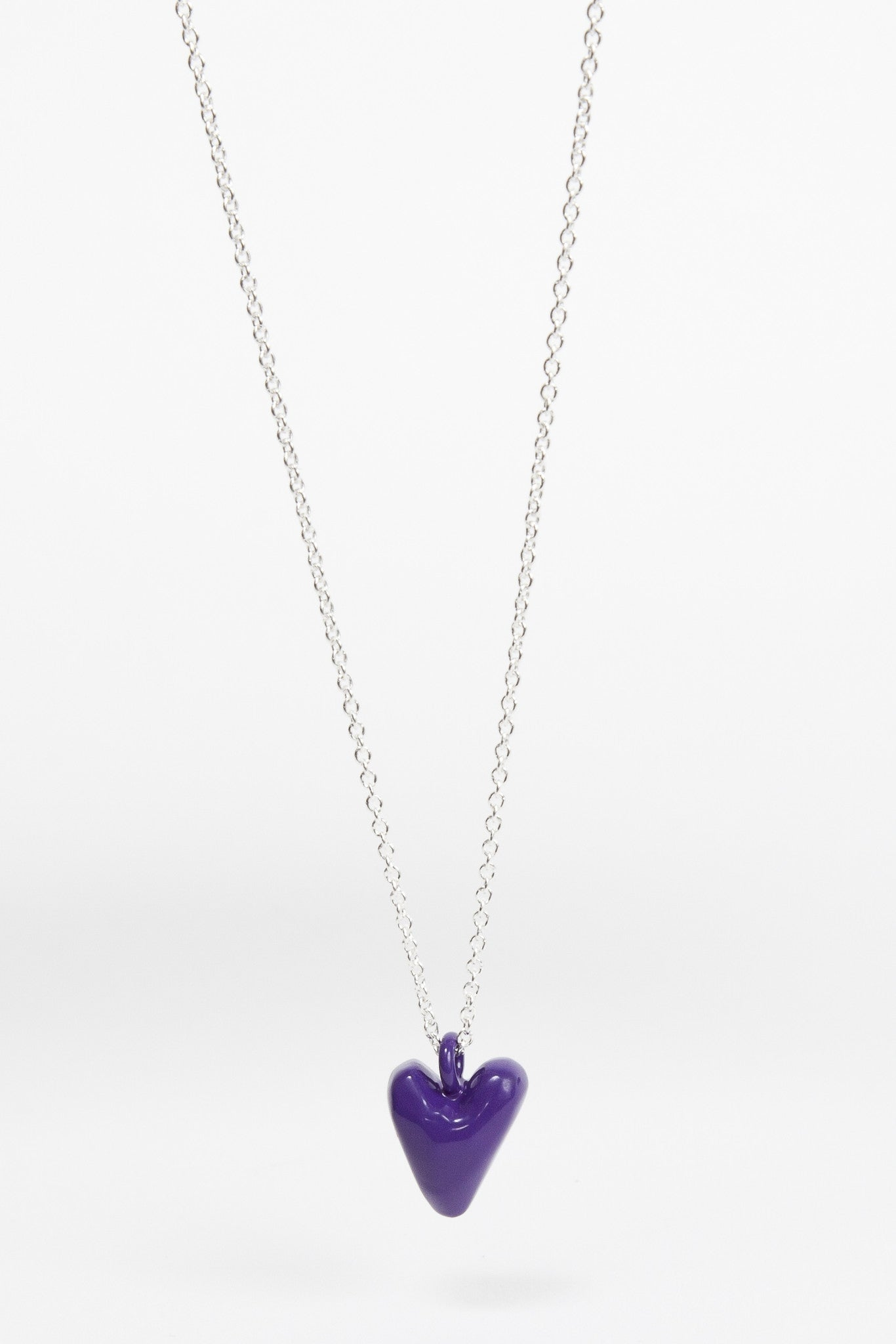 Coloured Heavy Heart Pendant - Violet