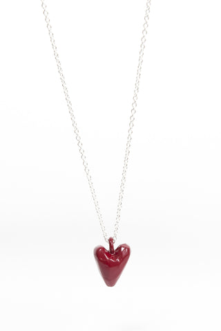 Coloured Heavy Heart Pendant - Red