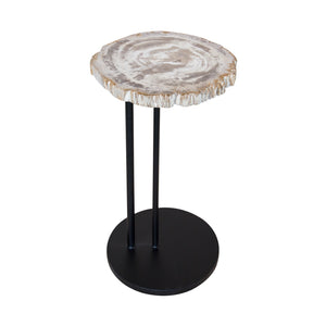 Petrified Wood Accent Table - White