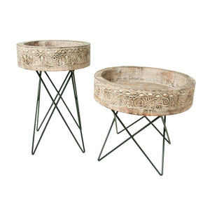 Folk Art Side Tables Set