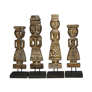 Set of 4 Carved Wood Folk
