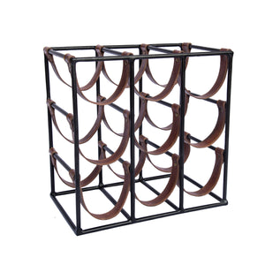 9 bottle Leather Wine Rack