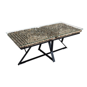 Rectangular Driftwood Coffee Table with Black Legs