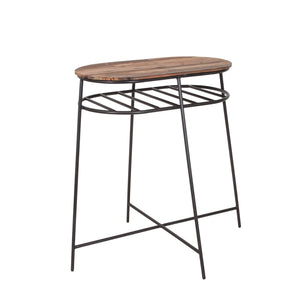 KLEO Recycled Boatwood Bar Table with Shelf