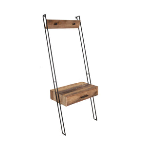 KLEO Recycled Boatwood Leaning Shelf with Drawer