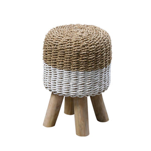 White and Natural Rattan Round Stool