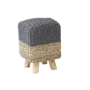 Rattan Natural and Grey Square Stool